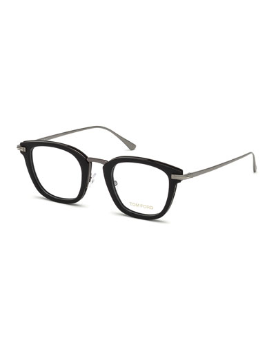 Square Matte Acetate & Metal Optical Frames, Black