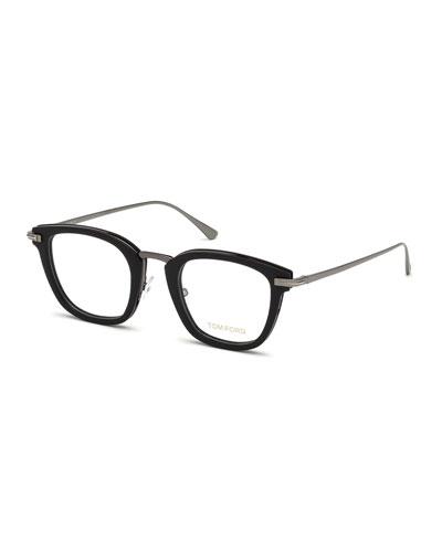 Square Matte Acetate & Metal Optical Frames, Black
