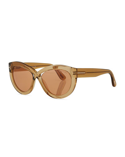 Diane Transparent Acetate Butterfly Sunglasses, Orange Pattern