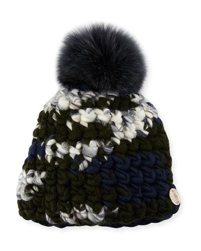 Melange Beanie Hat w/ Fur Pompom