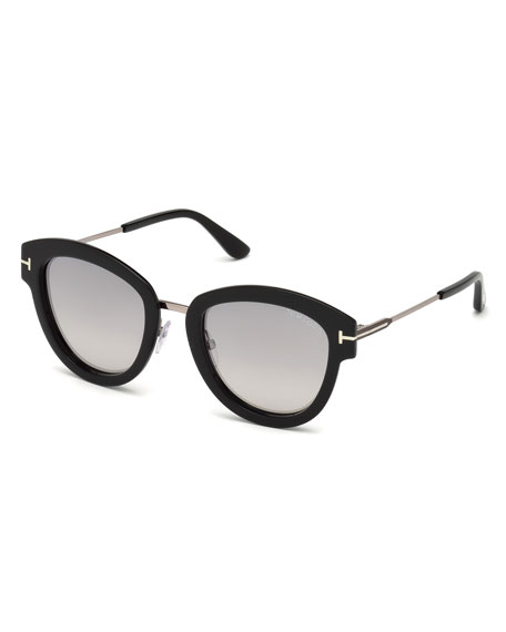 TOM FORD Oval Mirrored Acetate/Metal Sunglasses