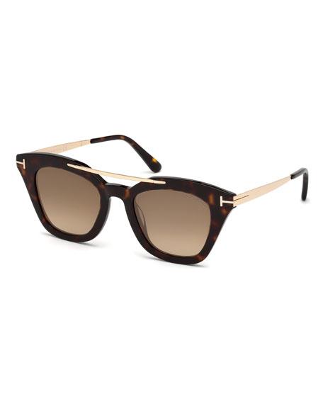 TOM FORD Anna Square Acetate/Metal Sunglasses