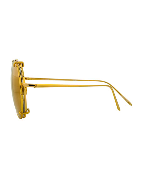 Aviator Glasses w/ Removable Sun Lenses, Yellow Pattern