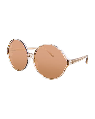 Transparent Round Sunglasses, Red