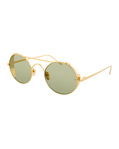 Oval Side-Blinders Sunglasses, Yellow Pattern