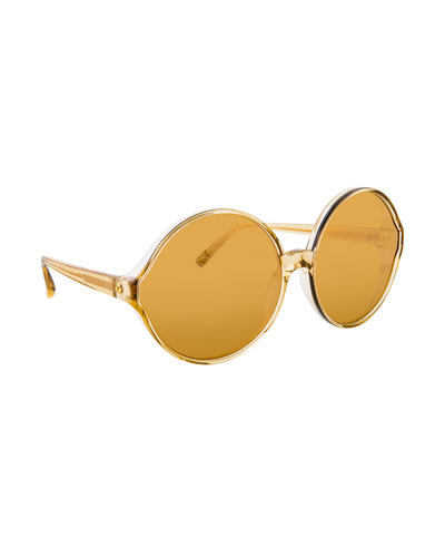 Transparent Round Sunglasses, Yellow Pattern