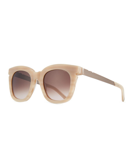 Pools & Palms Notched Square Sunglasses, Beige