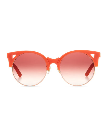 Up & At Em Semi-Rimless Round Sunglasses, Coral