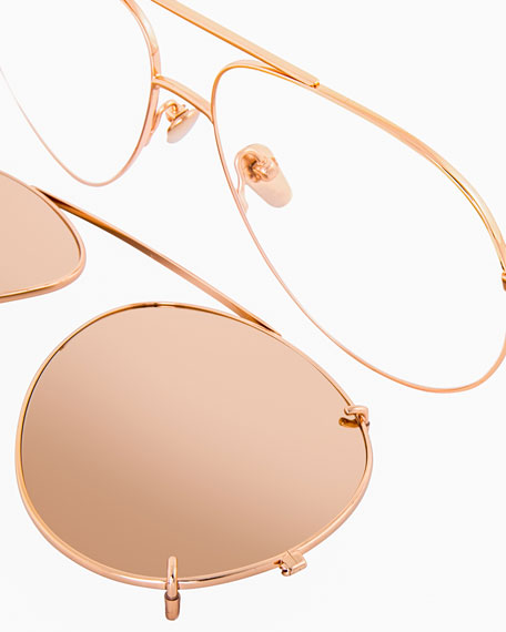 Aviator Glasses w/ Removable Sun Lenses, Rose Gold
