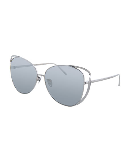 Cat-Eye Titanium-Twist Sunglasses, White Gold