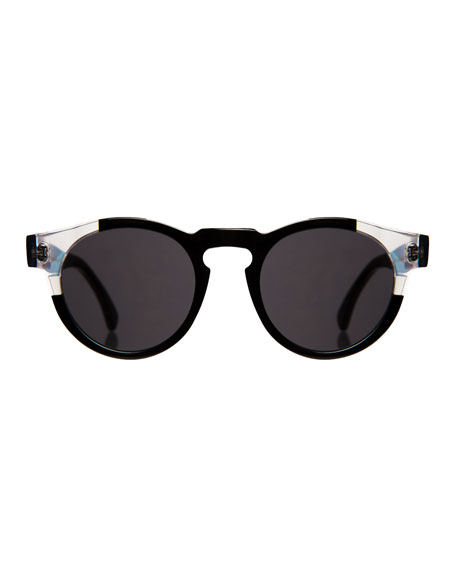 Round Transparent-Trim Sunglasses