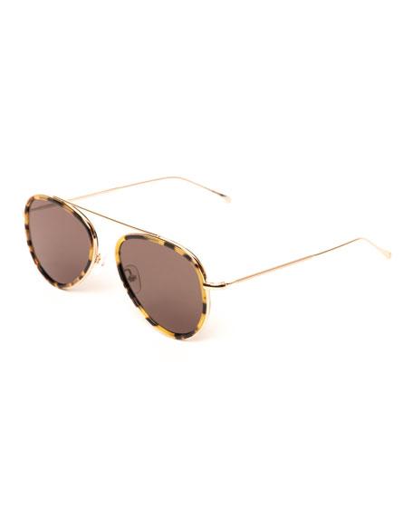 Single-Bridge Acetate Aviator Sunglasses, Brown