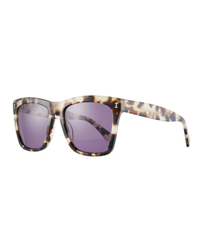 Square Monochromatic Sunglasses, Black Pattern