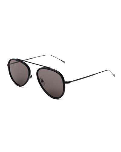 Single-Bridge Acetate Aviator Sunglasses, Black