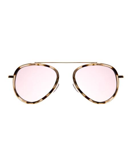 Single-Bridge Acetate Aviator Sunglasses, White Pattern