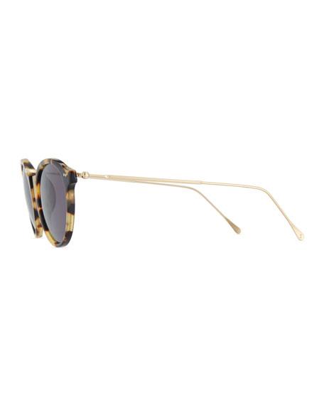 Round Acetate & Steel Sunglasses, Brown Pattern