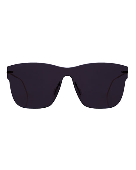 Square Rimless Steel Sunglasses, Blue