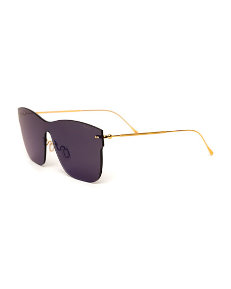 Square Rimless Steel Sunglasses, Blue