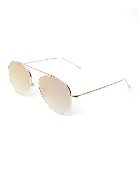 Illesteva Single-Bridge Steel Aviator Sunglasses, Gold