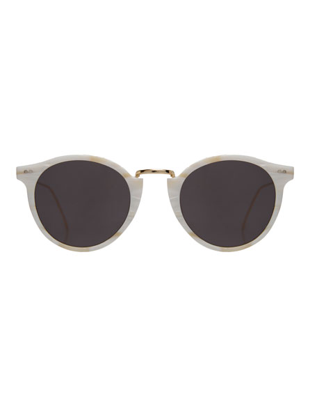 Round Acetate & Steel Sunglasses, Beige