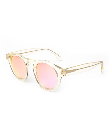 Round Transparent Mirrored Sunglasses, Champagne