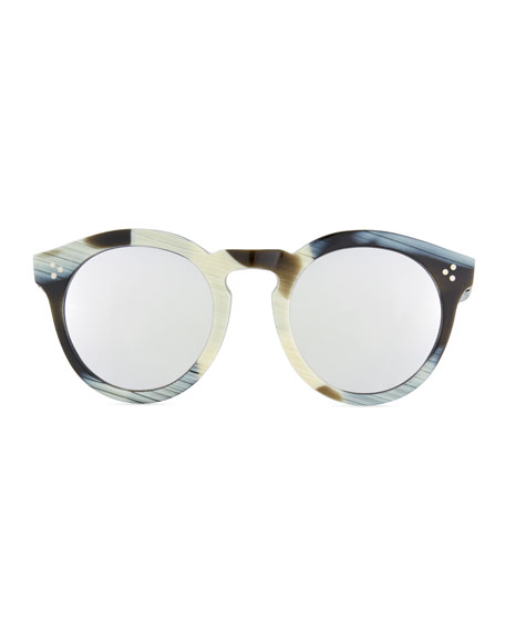 Patterned Round Mirrored Sunglasses, Multi Pattern