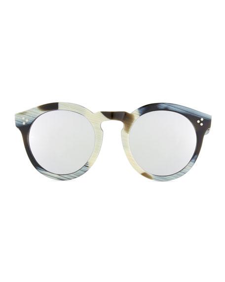 Patterned Round Mirrored Sunglasses, Multi Pattern