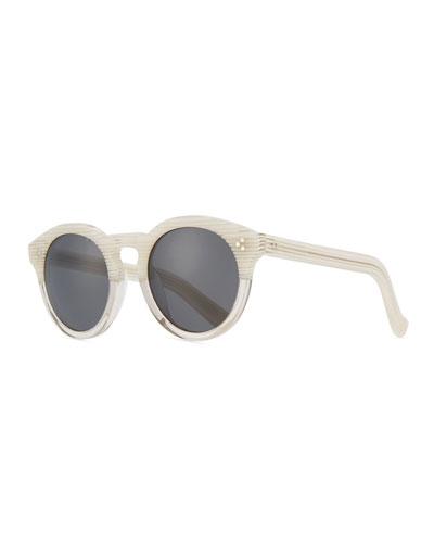 Patterned Round Monochromatic Sunglasses, White Pattern