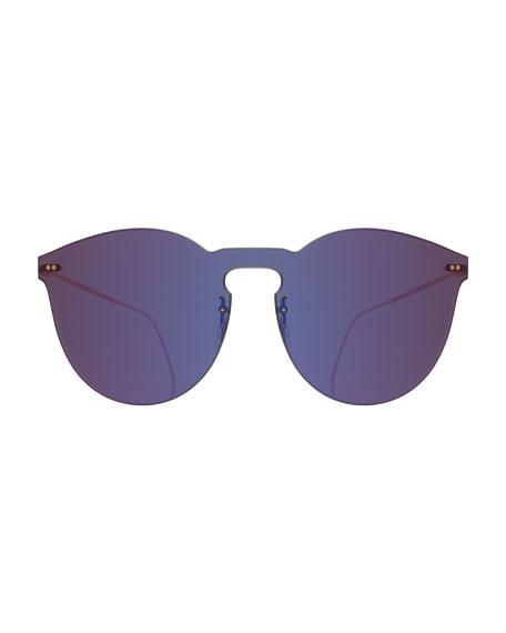 Round Mirrored Mask Sunglasses, Purple