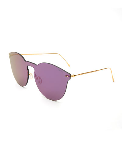 Round Mirrored Mask Sunglasses, Purple