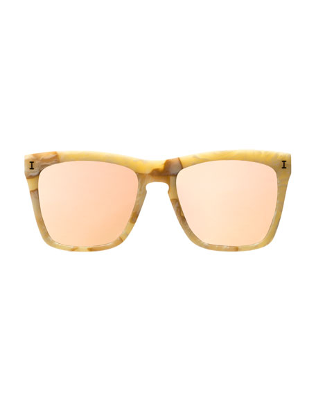 Mixed-Pattern Square Sunglasses