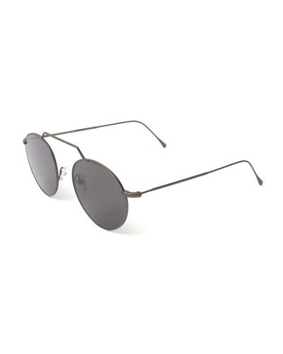 Round Geometric Bar Mirrored Sunglasses, Gray