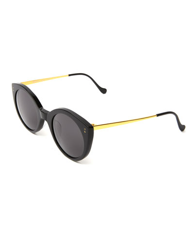 Acetate & Steel Cat-Eye Sunglasses