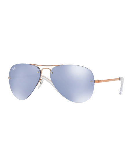 Iridescent Rimless Aviator Sunglasses, Brown