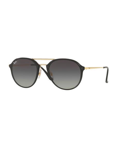 Round Gradient Mirrored Sunglasses