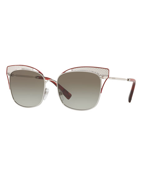 f4ce49e0f59 Valentino cat-eye sunglasses in acetate. Lens bridge temple (in mm)   55-17-140. Peaked frame front with metal cutout detail. Rockstud trim at  frame front.