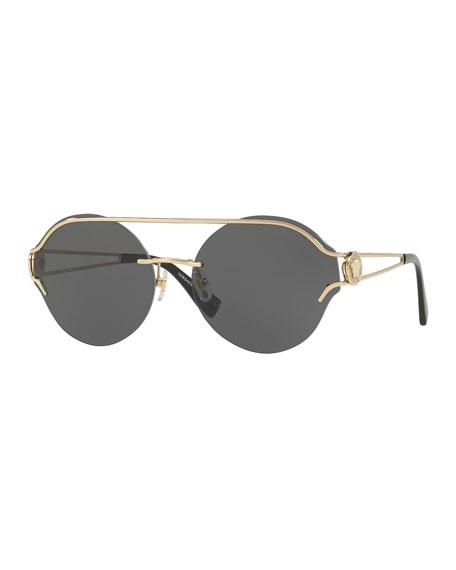 Round Rimless Open-Temple Sunglasses