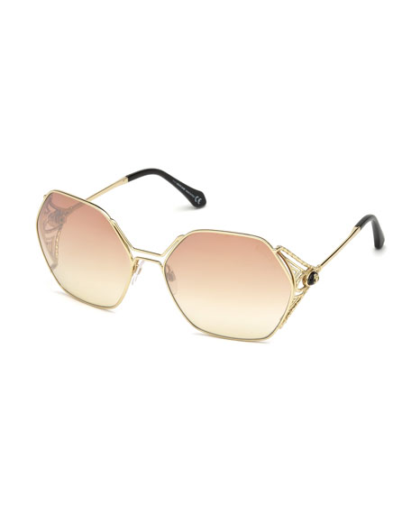 Hexagon Gradient Metal Sunglasses, Pink