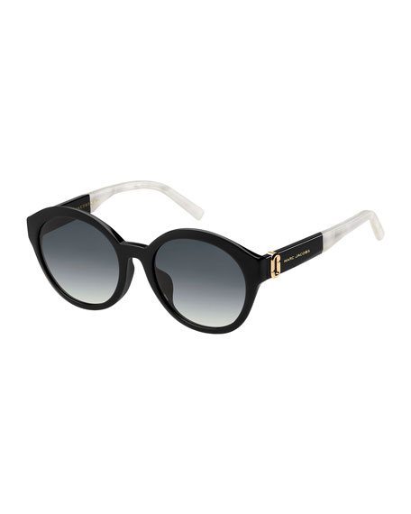 Two-Tone Round Gradient Sunglasses