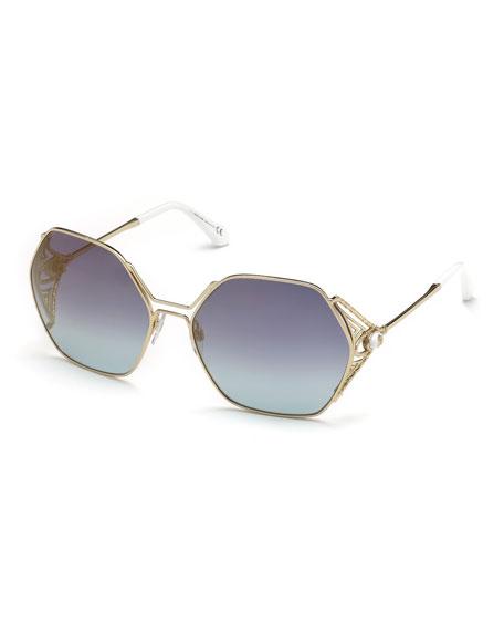Roberto Cavalli Hexagon Gradient Metal Sunglasses, Blue