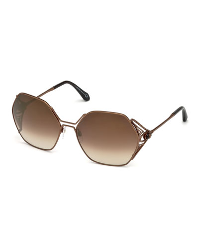 Hexagon Gradient Metal Sunglasses, Brown