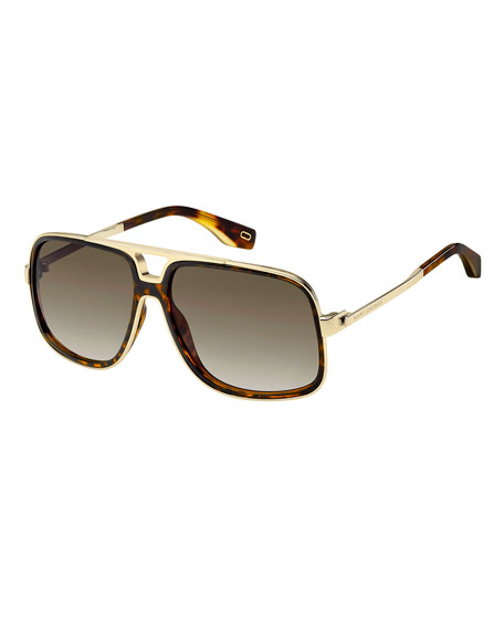 Acetate & Metal Aviator Sunglasses