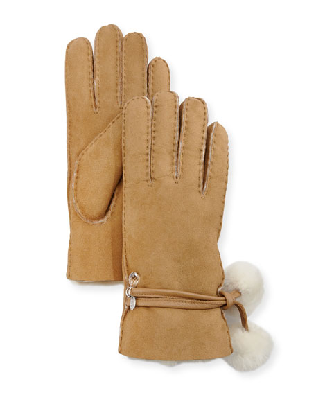 Brita Shearling-Lined Gloves w/ Pompoms & Charms