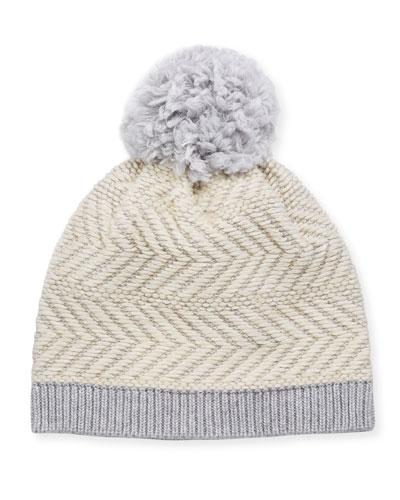 Knit Wool-Blend Beanie Hat w/ Yarn Pompom