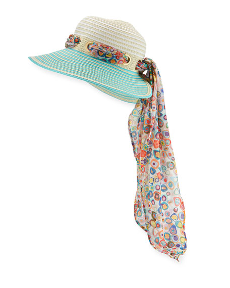 Missoni Sun Hat w/ Scarf Detail