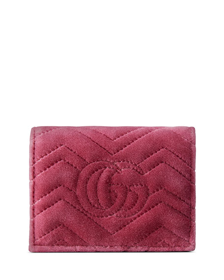 GG Marmont 2.0 Love Quilted Velvet Card Case