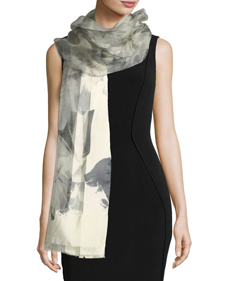 Floral-Print Silk Evening Scarf