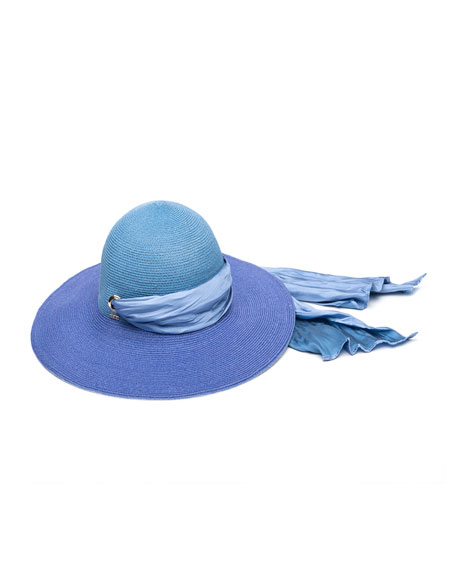 Honey Floppy Ombre Hemp Sun Hat with Satin Band