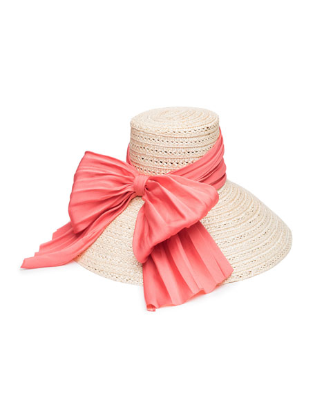 Mirabel Straw Sun Hat w/ Large Satin Bow, Ivory