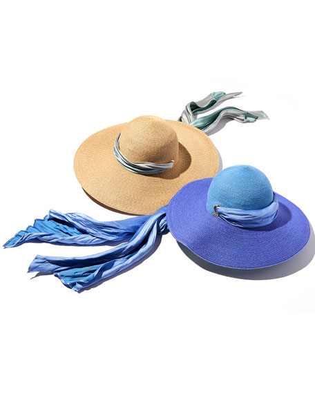 Bunny Hemp-Blend Sun Hat with Satin Band